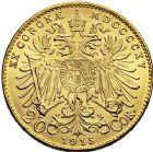 Photo numismatique  ARCHIVES VENTE 9 mars 2018 - Coll. Dr P. Corre MONNAIES DU MONDE AUTRICHE FRANCOIS-JOSEPH (1848-1916) 353- 20 couronnes, 1915, refrappe.