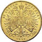 Photo numismatique  ARCHIVES VENTE 9 mars 2018 - Coll. Dr P. Corre MONNAIES DU MONDE AUTRICHE FRANCOIS-JOSEPH (1848-1916) 354- 20 couronnes, 1915, refrappe.