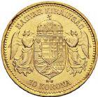 Photo numismatique  ARCHIVES VENTE 9 mars 2018 - Coll. Dr P. Corre MONNAIES DU MONDE HONGRIE FRANCOIS-JOSEPH (1848-1916) 371- 10 Korona or, Kremnitz, 1904.
