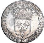 Photo numismatique  ARCHIVES VENTE 8 mars 2018 - Coll D. Fenouil ROYALES FRANCAISES LOUIS XIV (14 mai 1643-1er septembre 1715)  5- Écu blanc à la mèche courte, 1644, A*, PARIS.