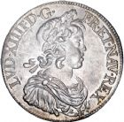 Photo numismatique  ARCHIVES VENTE 8 mars 2018 - Coll D. Fenouil ROYALES FRANCAISES LOUIS XIV (14 mai 1643-1er septembre 1715)  6- Écu blanc à la mèche courte, 1645, A., PARIS.