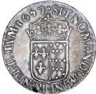 Photo numismatique  ARCHIVES VENTE 8 mars 2018 - Coll D. Fenouil ROYALES FRANCAISES LOUIS XIV (14 mai 1643-1er septembre 1715)  18- Écu de Navarre à la mèche longue, 1657, *V*, SAINT-PALAIS.