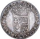 Photo numismatique  ARCHIVES VENTE 8 mars 2018 - Coll D. Fenouil ROYALES FRANCAISES LOUIS XIV (14 mai 1643-1er septembre 1715)  19- Écu de Navarre à la mèche longue, 1658, *V*, SAINT-PALAIS.