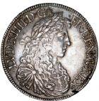 Photo numismatique  ARCHIVES VENTE 8 mars 2018 - Coll D. Fenouil ROYALES FRANCAISES LOUIS XIV (14 mai 1643-1er septembre 1715)  26- Écu blanc au buste juvénile, 2e type, 1664, B, ROUEN.
