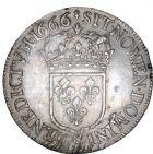 Photo numismatique  ARCHIVES VENTE 8 mars 2018 - Coll D. Fenouil ROYALES FRANCAISES LOUIS XIV (14 mai 1643-1er septembre 1715)  28- Écu blanc au buste juvénile, 2e type, 1666, 9, RENNES.