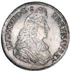 Photo numismatique  ARCHIVES VENTE 8 mars 2018 - Coll D. Fenouil ROYALES FRANCAISES LOUIS XIV (14 mai 1643-1er septembre 1715)  35- Écu blanc à la cravate, 1673, 9, RENNES.
