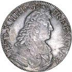 Photo numismatique  ARCHIVES VENTE 8 mars 2018 - Coll D. Fenouil ROYALES FRANCAISES LOUIS XIV (14 mai 1643-1er septembre 1715)  37- Écu blanc à la cravate, 1675, L, BAYONNE.
