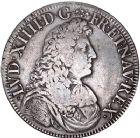 Photo numismatique  ARCHIVES VENTE 8 mars 2018 - Coll D. Fenouil ROYALES FRANCAISES LOUIS XIV (14 mai 1643-1er septembre 1715)  39- Écu blanc à la cravate, 1677, L, BAYONNE.