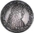 Photo numismatique  ARCHIVES VENTE 8 mars 2018 - Coll D. Fenouil ROYALES FRANCAISES LOUIS XIV (14 mai 1643-1er septembre 1715)  44- Écu blanc à la cravate, 1681, S, REIMS.