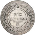 Photo numismatique  ARCHIVES VENTE 8 mars 2018 - Coll D. Fenouil MODERNES FRANÇAISES LA CONVENTION (22 septembre 1792 - 26 octobre 1795)  181- ÉCU de 6 livres, type