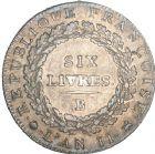 Photo numismatique  ARCHIVES VENTE 8 mars 2018 - Coll D. Fenouil MODERNES FRANÇAISES LA CONVENTION (22 septembre 1792 - 26 octobre 1795)  182- ÉCU de 6 livres, type non daté, ND, B, ROUEN.