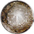 Photo numismatique  ARCHIVES VENTE 8 mars 2018 - Coll D. Fenouil MODERNES FRANÇAISES LE DIRECTOIRE (27 octobre 1795-10 novembre 1799)  183- 5 FRANCS type Union et Force, variété