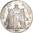 Photo numismatique  ARCHIVES VENTE 8 mars 2018 - Coll D. Fenouil MODERNES FRANÇAISES LE DIRECTOIRE (27 octobre 1795-10 novembre 1799)  184- 5 FRANCS type Union et Force, variété