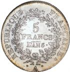 Photo numismatique  ARCHIVES VENTE 8 mars 2018 - Coll D. Fenouil MODERNES FRANÇAISES LE DIRECTOIRE (27 octobre 1795-10 novembre 1799)  185- 5 FRANCS type Union et Force, variété