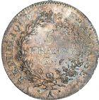 Photo numismatique  ARCHIVES VENTE 8 mars 2018 - Coll D. Fenouil MODERNES FRANÇAISES LE DIRECTOIRE (27 octobre 1795-10 novembre 1799)  186- 5 FRANCS type Union et Force, variété