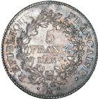 Photo numismatique  ARCHIVES VENTE 8 mars 2018 - Coll D. Fenouil MODERNES FRANÇAISES LE DIRECTOIRE (27 octobre 1795-10 novembre 1799)  187- 5 FRANCS type Union et Force, variété