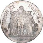 Photo numismatique  ARCHIVES VENTE 8 mars 2018 - Coll D. Fenouil MODERNES FRANÇAISES LE CONSULAT (à partir du 24 décembre 1799-18 mai 1804)  189- 5 FRANCS type Union et Force, variété