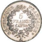Photo numismatique  ARCHIVES VENTE 8 mars 2018 - Coll D. Fenouil MODERNES FRANÇAISES LE CONSULAT (à partir du 24 décembre 1799-18 mai 1804)  190- 5 FRANCS type Union et Force, variété