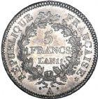 Photo numismatique  ARCHIVES VENTE 8 mars 2018 - Coll D. Fenouil MODERNES FRANÇAISES LE CONSULAT (à partir du 24 décembre 1799-18 mai 1804)  191- 5 FRANCS type Union et Force, variété
