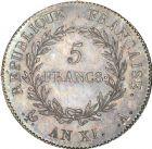 Photo numismatique  ARCHIVES VENTE 8 mars 2018 - Coll D. Fenouil MODERNES FRANÇAISES LE CONSULAT (à partir du 24 décembre 1799-18 mai 1804) Bonaparte 1er Consul 192- 5 FRANCS Bonaparte Ier consul, AN XI, A, PARIS.