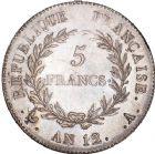 Photo numismatique  ARCHIVES VENTE 8 mars 2018 - Coll D. Fenouil MODERNES FRANÇAISES LE CONSULAT (à partir du 24 décembre 1799-18 mai 1804) Bonaparte 1er Consul 193- 5 FRANCS Bonaparte Ier consul, AN12, A, PARIS.