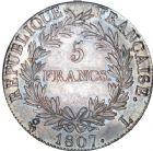 Photo numismatique  ARCHIVES VENTE 8 mars 2018 - Coll D. Fenouil MODERNES FRANÇAISES NAPOLEON Ier, empereur (18 mai 1804- 6 avril 1814)  198- 5 FRANCS Napoléon empereur (calendrier grégorien), 1807, L, BAYONNE.