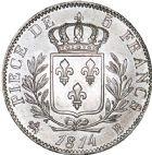 Photo numismatique  ARCHIVES VENTE 8 mars 2018 - Coll D. Fenouil MODERNES FRANÇAISES LOUIS XVIII, 1ère restauration (3 mai 1814-20 mars 1815)  208- 5 FRANCS Louis XVIII, type au buste habillé, 1814, B, ROUEN.