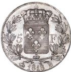 Photo numismatique  ARCHIVES VENTE 8 mars 2018 - Coll D. Fenouil MODERNES FRANÇAISES LOUIS XVIII, 2e restauration (8 juillet 1815-16 septembre 1824)  213- 5 FRANCS 5 F, Louis XVIII type au buste nu, 1819, B, ROUEN.