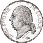 Photo numismatique  ARCHIVES VENTE 8 mars 2018 - Coll D. Fenouil MODERNES FRANÇAISES LOUIS XVIII, 2e restauration (8 juillet 1815-16 septembre 1824)  216- 5 FRANCS 5 F, Louis XVIII type au buste nu, 1821, A, PARIS.
