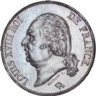 Photo numismatique  ARCHIVES VENTE 8 mars 2018 - Coll D. Fenouil MODERNES FRANÇAISES LOUIS XVIII, 2e restauration (8 juillet 1815-16 septembre 1824)  218- 5 FRANCS 5 F, Louis XVIII type au buste nu, 1823, A, PARIS.