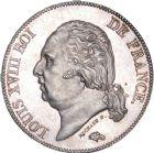 Photo numismatique  ARCHIVES VENTE 8 mars 2018 - Coll D. Fenouil MODERNES FRANÇAISES LOUIS XVIII, 2e restauration (8 juillet 1815-16 septembre 1824)  219- 5 FRANCS 5 F, Louis XVIII type au buste nu, 1824, H, LA ROCHELLE.
