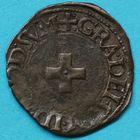 Photo numismatique  MONNAIES BARONNIALES Seigneurie de BEARN HENRI Ier D'Albret, II de Navarre (1516-1555) Liard à la croisette.
