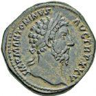 Photo numismatique  ARCHIVES VENTE 12 juin 2018 EMPIRE ROMAIN MARC-AURELE  et FAUSTINE II  82- Lot de 2 monnaies : Sesterce et as.