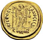 Photo numismatique  ARCHIVES VENTE 12 juin 2018 EMPIRE BYZANTIN JUSTINIEN Ier (527-565)  118- Solidus, Constantinople, officine delta.