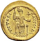 Photo numismatique  ARCHIVES VENTE 12 juin 2018 EMPIRE BYZANTIN JUSTIN II (565-578)  120- Solidus frappé à Constantinople, officine H.