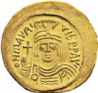 Photo numismatique  ARCHIVES VENTE 12 juin 2018 EMPIRE BYZANTIN MAURICE TIBERE (582-602)  123- Solidus, Constantinople, 583/601, officine S.