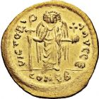Photo numismatique  ARCHIVES VENTE 12 juin 2018 EMPIRE BYZANTIN MAURICE TIBERE (582-602)  124-  Solidus frappé à Antioche, officine E.