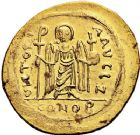 Photo numismatique  ARCHIVES VENTE 12 juin 2018 EMPIRE BYZANTIN PHOCAS (602-610)  125- Solidus or, Constantinople, officine Zéta.