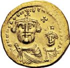 Photo numismatique  ARCHIVES VENTE 12 juin 2018 EMPIRE BYZANTIN HERACLIUS et HERACLIUS CONSTANTIN (613-638)  127- Solidus, Constantinople, officine E et follis contremarqué.