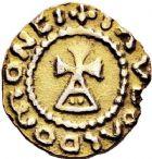 Photo numismatique  ARCHIVES VENTE 12 juin 2018 PEUPLES BARBARES MEROVINGIENS CITES CANAONE VICO 202- Triens d'or au nom de Iaudoaldo. (vers 640/650).