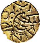 Photo numismatique  ARCHIVES VENTE 12 juin 2018 PEUPLES BARBARES MEROVINGIENS CITES COUTANCES (Manche) 203- Triens d'or au nom de Leandomarus (vers 620/640).