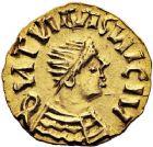 Photo numismatique  ARCHIVES VENTE 12 juin 2018 PEUPLES BARBARES MEROVINGIENS CITES NEVERS (Nièvre) 207- Triens imitant les monnaies de Justinien (vers 550/578).