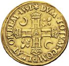 Photo numismatique  ARCHIVES VENTE 12 juin 2018 ROYALES FRANCAISES HENRI II (31 mars 1547-10 juillet 1559)  271- Double Henri d'or du 1er type, Paris 1551.