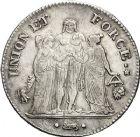 Photo numismatique  ARCHIVES VENTE 12 juin 2018 MODERNES FRANÇAISES LE DIRECTOIRE (27 octobre 1795-10 novembre 1799)  341- 5 francs, Bayonne, an 7.