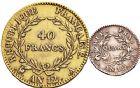 Photo numismatique  ARCHIVES VENTE 12 juin 2018 MODERNES FRANÇAISES LE CONSULAT (à partir du 24 décembre 1799-18 mai 1804)  343- 40 francs or et quart de franc.