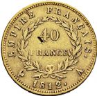 Photo numismatique  ARCHIVES VENTE 12 juin 2018 MODERNES FRANÇAISES NAPOLEON Ier, empereur (18 mai 1804- 6 avril 1814)  347- 40 francs or, Paris 1812.