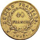 Photo numismatique  ARCHIVES VENTE 12 juin 2018 MODERNES FRANÇAISES NAPOLEON Ier, empereur (18 mai 1804- 6 avril 1814)  348- 40 francs or, Paris 1812.