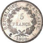 Photo numismatique  ARCHIVES VENTE 12 juin 2018 MODERNES FRANÇAISES NAPOLEON Ier, empereur (18 mai 1804- 6 avril 1814)  350- 5 francs, Bayonne 1808.