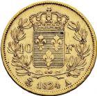 Photo numismatique  ARCHIVES VENTE 12 juin 2018 MODERNES FRANÇAISES LOUIS XVIII, 2e restauration (8 juillet 1815-16 septembre 1824)  361- 40 francs or, Paris 1824.