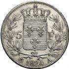 Photo numismatique  ARCHIVES VENTE 12 juin 2018 MODERNES FRANÇAISES LOUIS XVIII, 2e restauration (8 juillet 1815-16 septembre 1824)  363- 5 francs, Paris 1834.